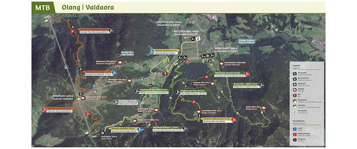 Mountainbike-Strecken in und um Olang am Kronplatz in Südtirol